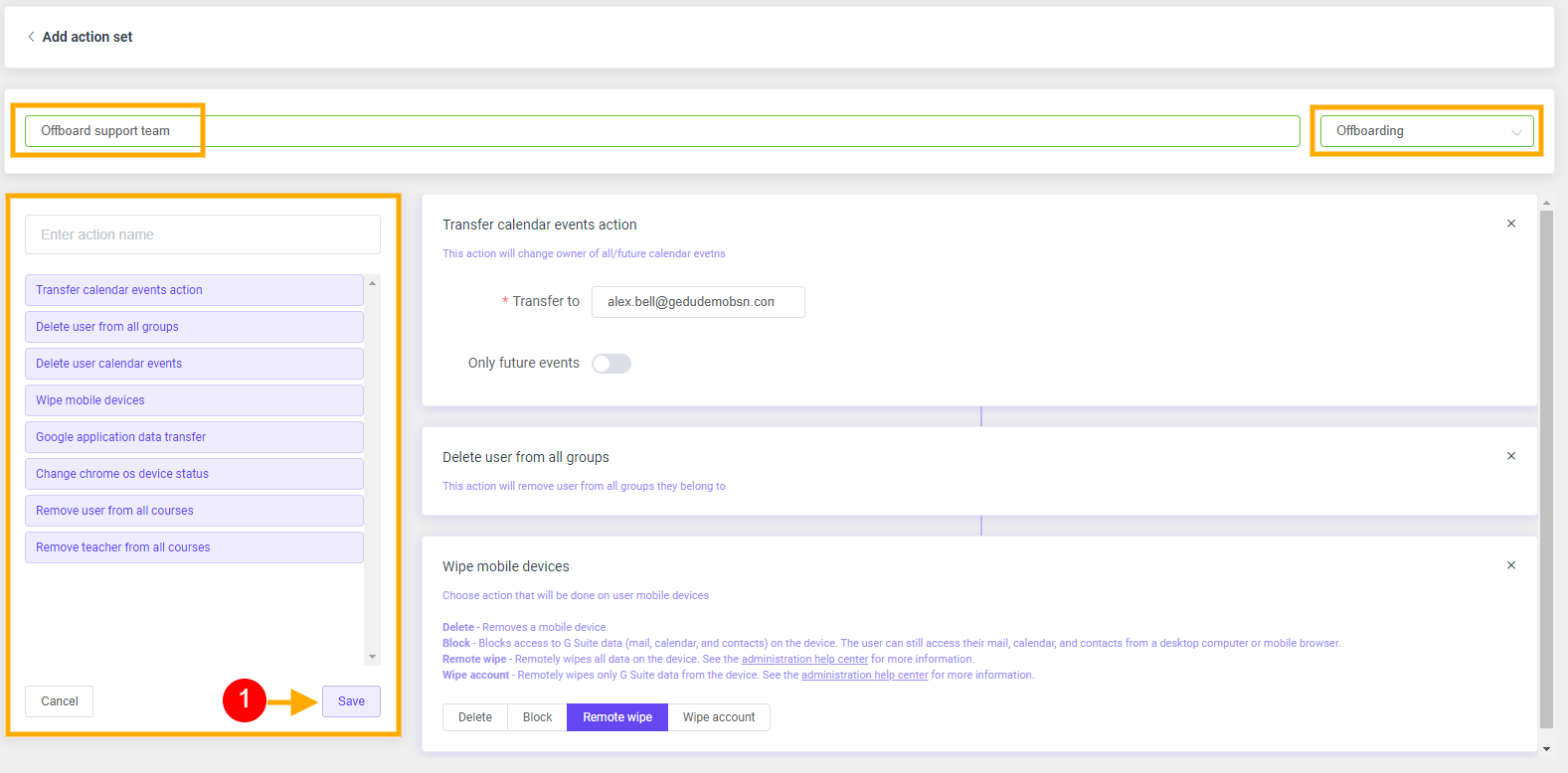 GAT Flow: Create an action set for Offboarding G Suite users 5
