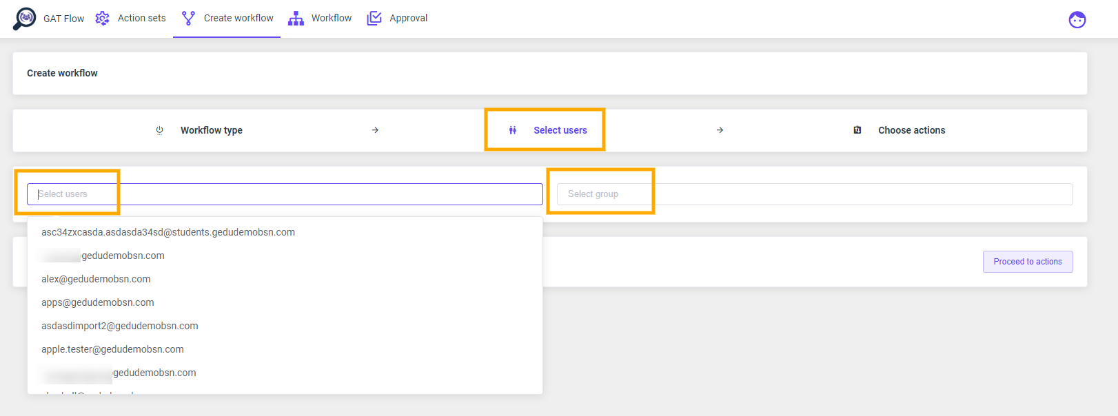 GAT Flow: Create an action set for Offboarding G Suite users 8