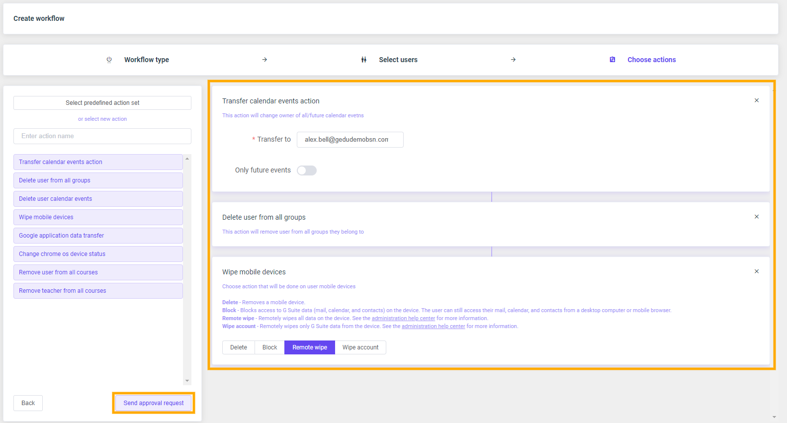 GAT Flow: Create an action set for Offboarding G Suite users 12