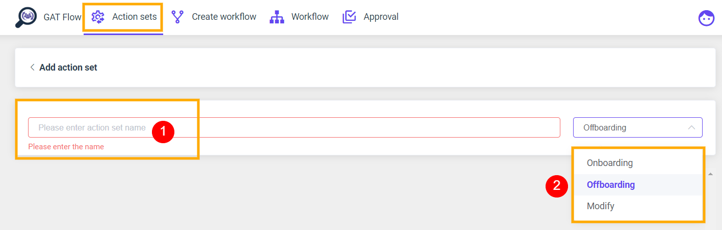 GAT Flow: Create an action set for Offboarding G Suite users 4