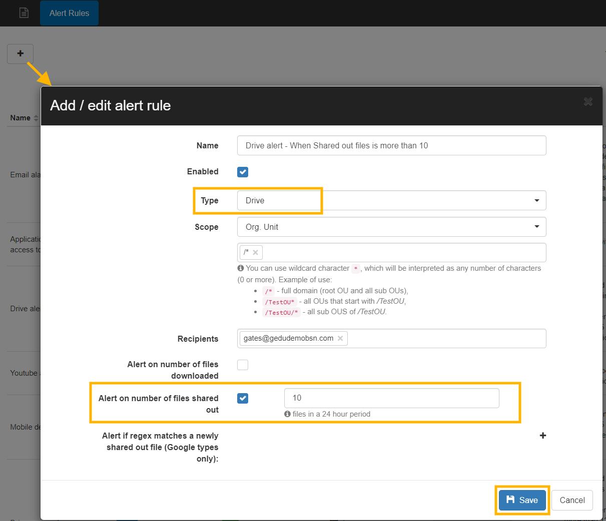 GAT+ | Set up a Google DLP Alert on the Number of Drive Files Shared Externally 2