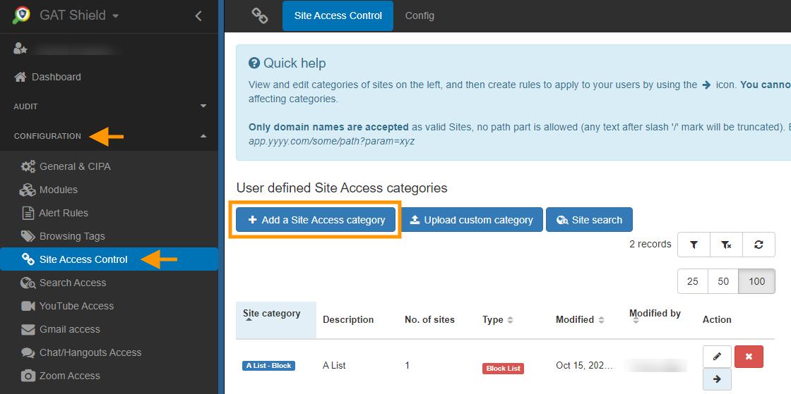 GAT Shield: Automatically Block URL Sites | Site Control 1