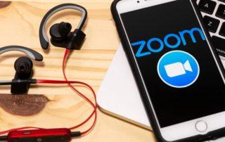 December 24, 2019, Brazil. Smartphone showing Zoom Cloud meetings application logo on an a screen.