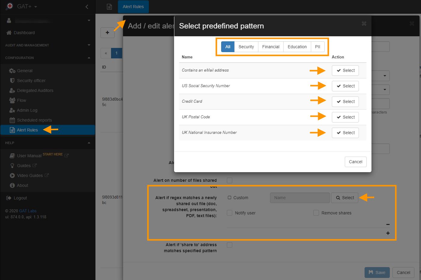 GAT+ | One Click Drive DLP Regex Alert Rules Templates 1