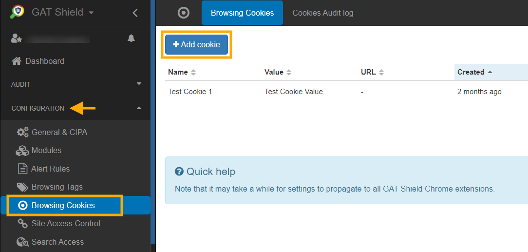 GAT Shield - Browsing cookies 1