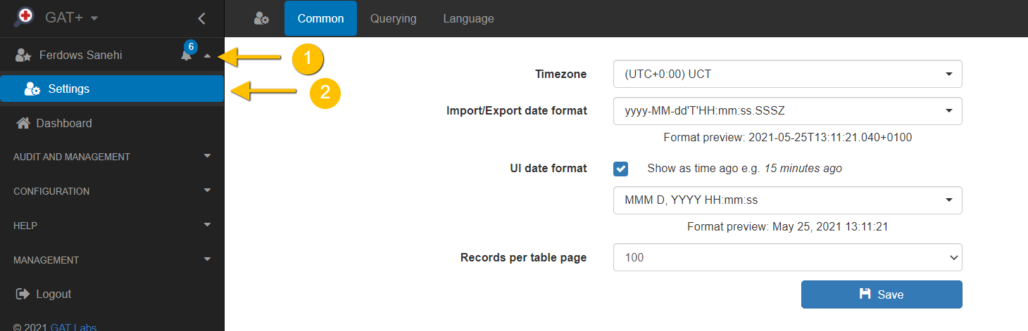 GAT+ | Configuring your User Profile Settings and Preferences 1