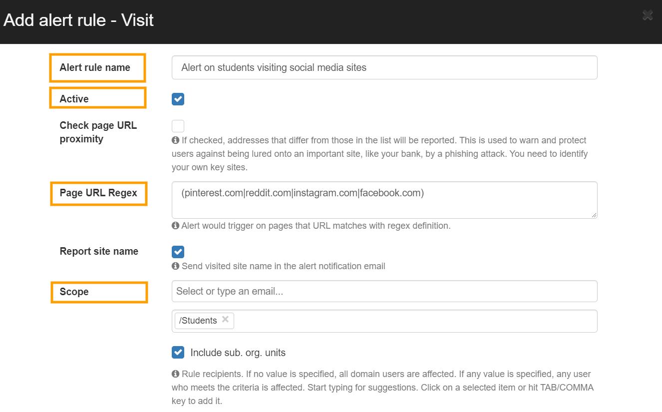 GAT Shield   Block websites visit with Alert rules 2