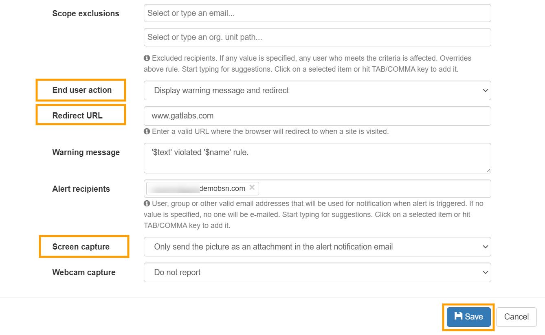 GAT Shield   Block websites visit with Alert rules 3