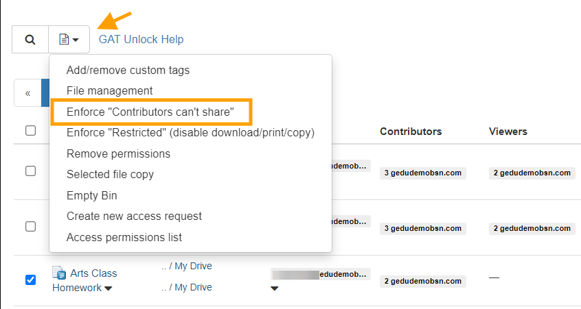 GAT+ | G Drive File Access Control - Enforce 'Contributors Can't Share' to files and folders 3