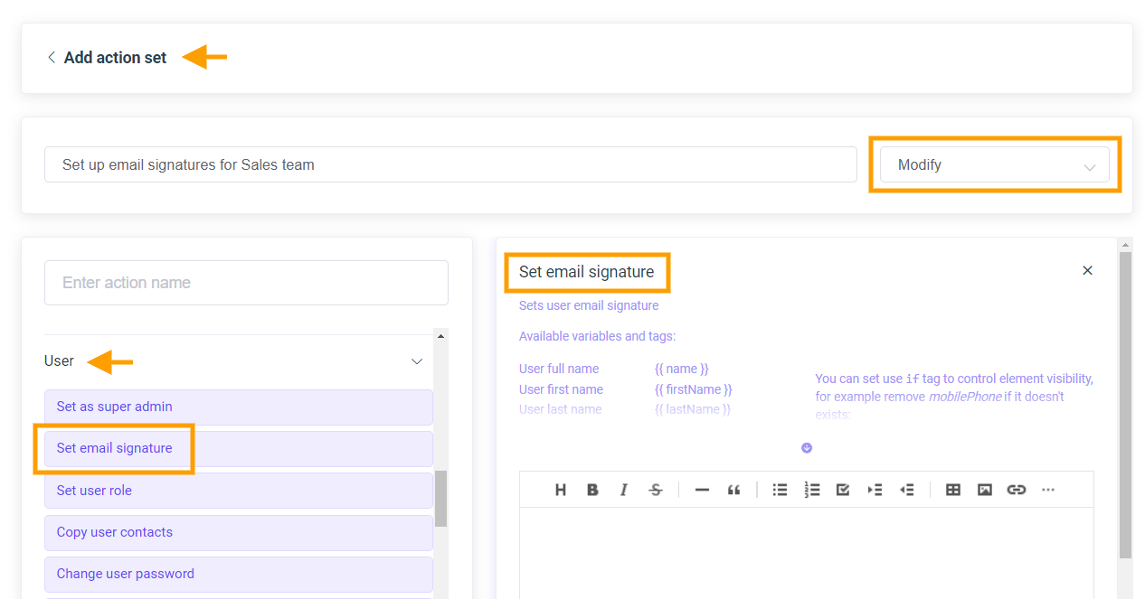 GAT Flow | Set up action set and add new Email signature to multiple users 3